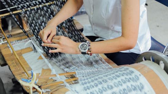 久保かすり織物|つなぎ込み